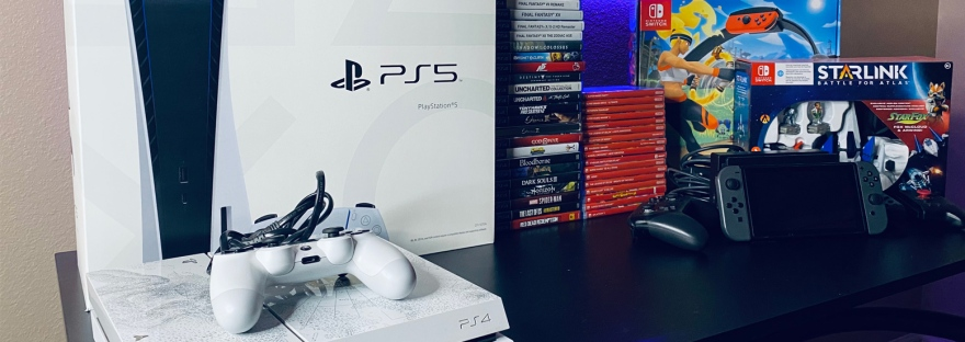 Video game collection (PS5, PS4, Nintendo Switch).